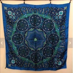 Vintage 100% Silk Satin Beautiful Design Scarf